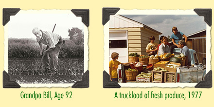 Grandpa Waldoch and a truck full of fresh produce